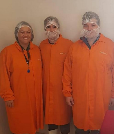 2 of the final year students who won the prize in October last year to attend a day with us at a client! Going into a fish processing facility!
