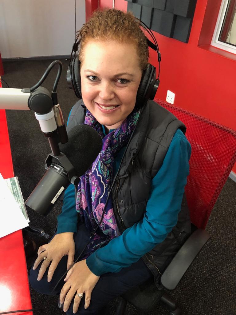 Chrisna Viljoen at Radio Tygerberg for an interview on entrepreneurship
